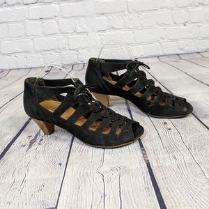 Paul Green Prague Black Stacked Lace Up Heels